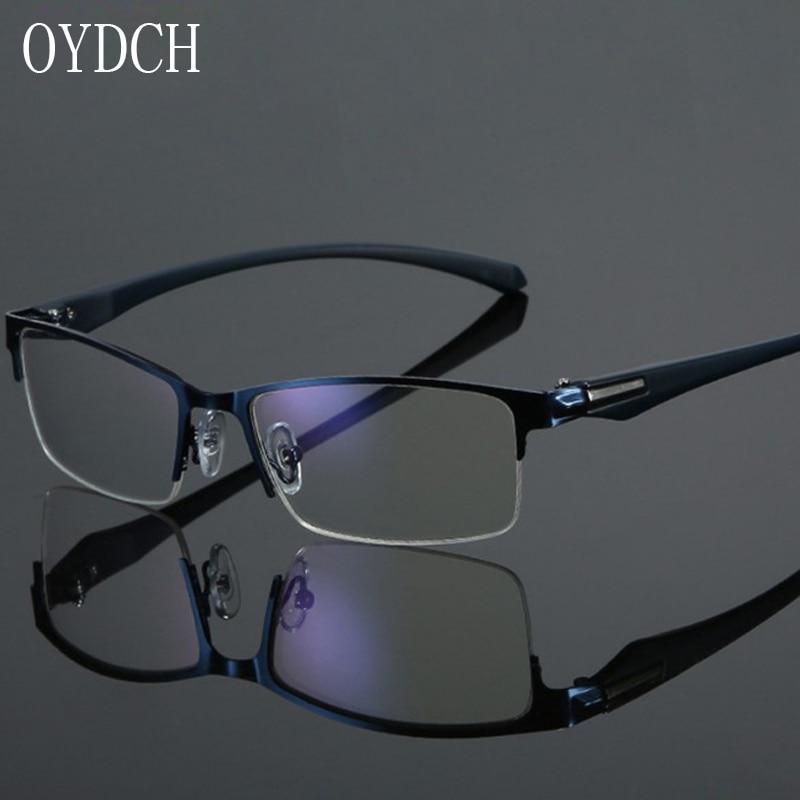 Gafas de lectura de rayos azules de alta gama para hombres y gafas de lectura semienmarcadas de Metal para mujeres, gafas diópticas