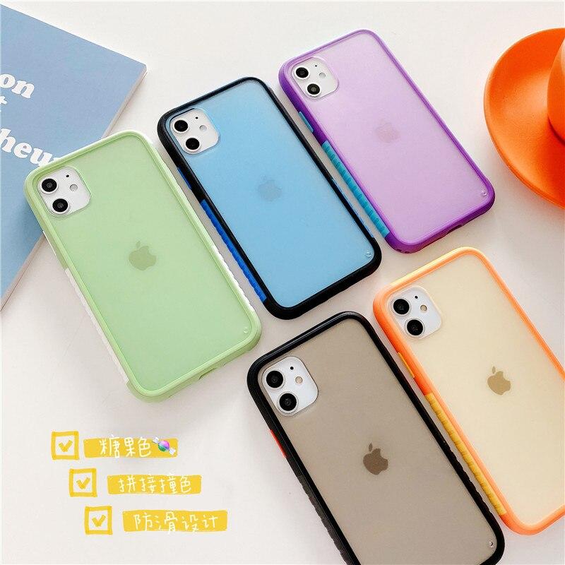INS a prueba de golpes, funda de teléfono dura suave mate transparente para iphone 11 Pro Max XR XS Max 6S 8 7 Plus, cubierta trasera de color de tendencia
