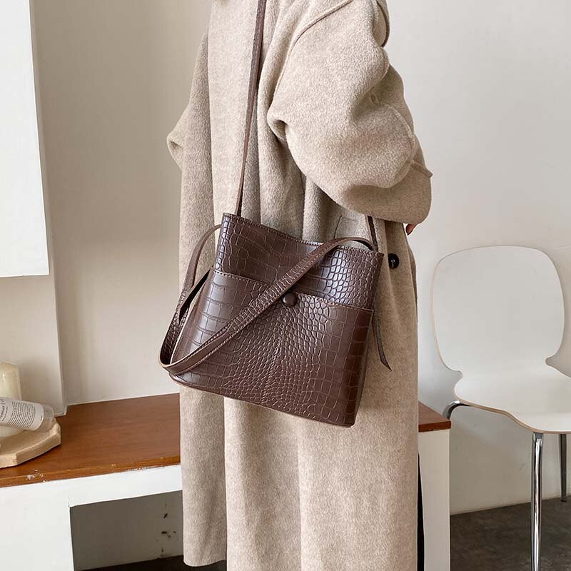 Stone Pattern PU Leather Bucket Bags For Women 2020 Small Shoulder Messenger Bag Female Travel Handbags