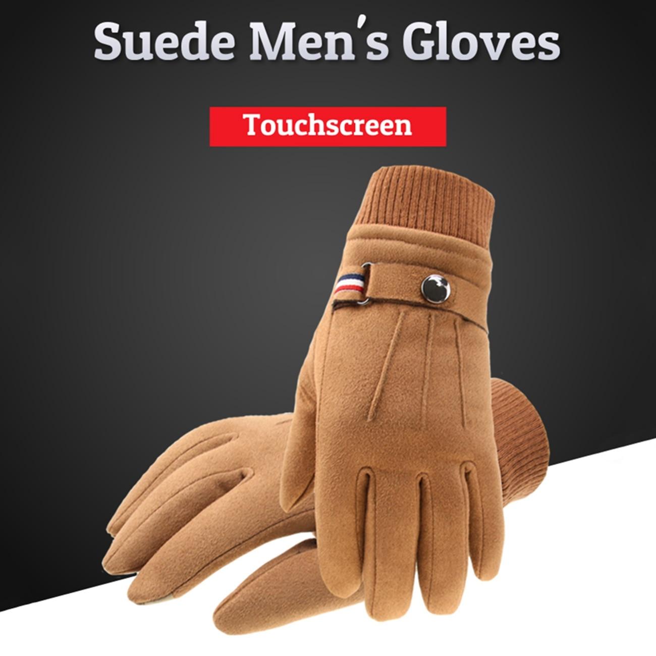 Men'S Winter Gloves Suede Warm Split Finger Gloves Outdoor Sport Driving Buckle Design Male Touc