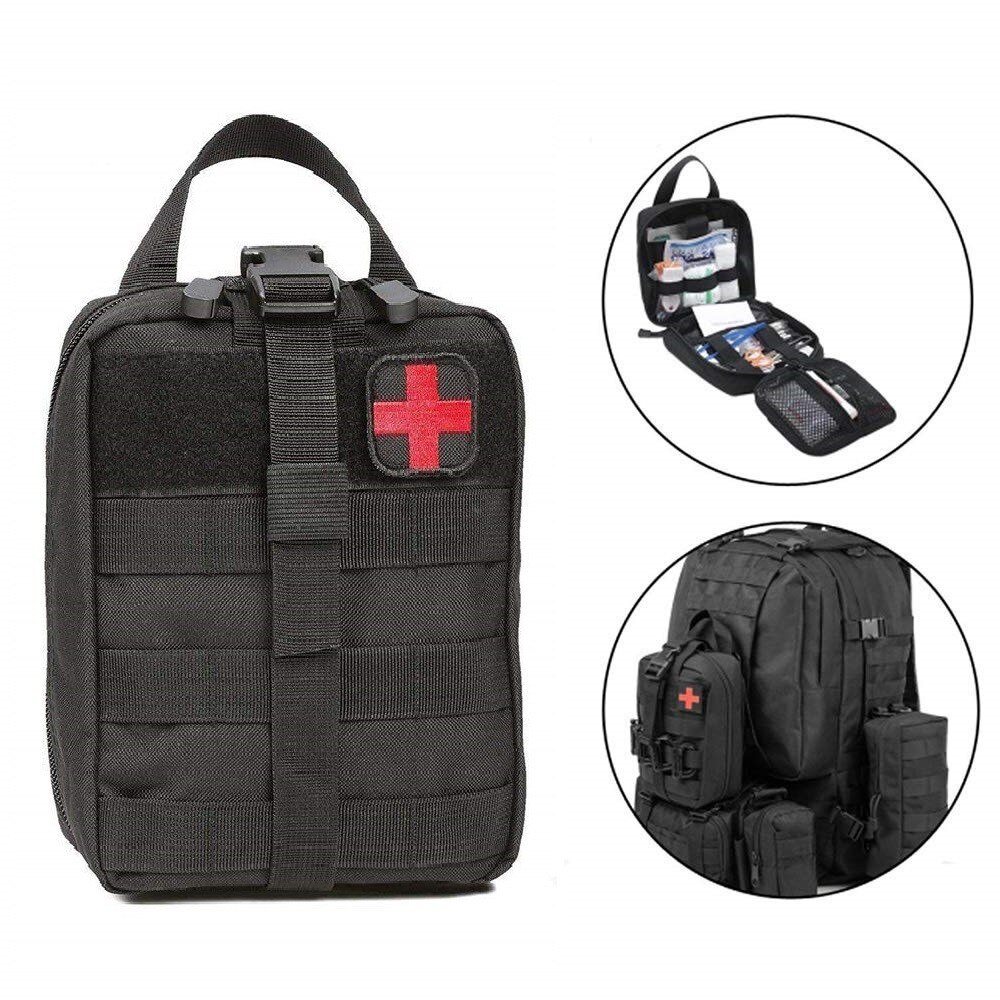 Outdoor Water First Aid Kits Travel Oxford Cloth Tactical Waist Pack Camping Climbing Bag Black Emer