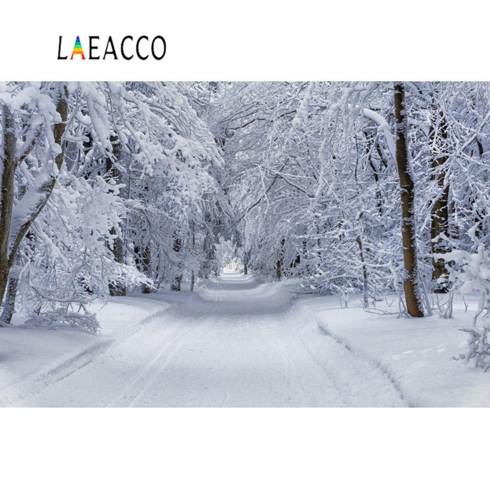 Fondos de fotografía Laeacco invierno nieve árbol bosque camino retrato Natural escénico fondos fotográficos estudio fotográfico Photocall