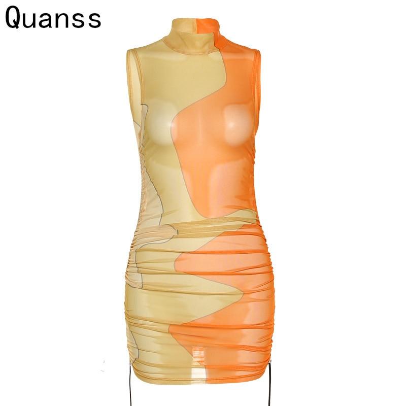 كوانس بلا أكمام انظر من خلال شبكة فستان مثير المرأة 2021 الصيف Bodycon ضيق الرباط ملهى ليلي شاطئ حفلة فساتين قصيرة
