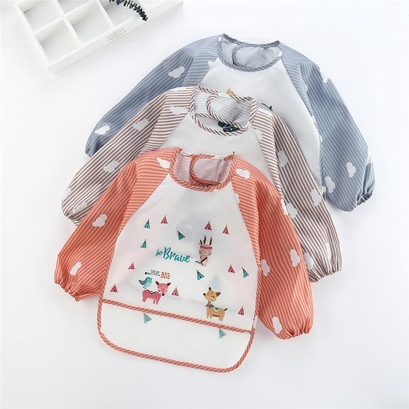 PUDCOCO Baby Children Art Smock Feeding Bib Apron Pocket Waterproof Cloths Long Sleeves with Food Catcher