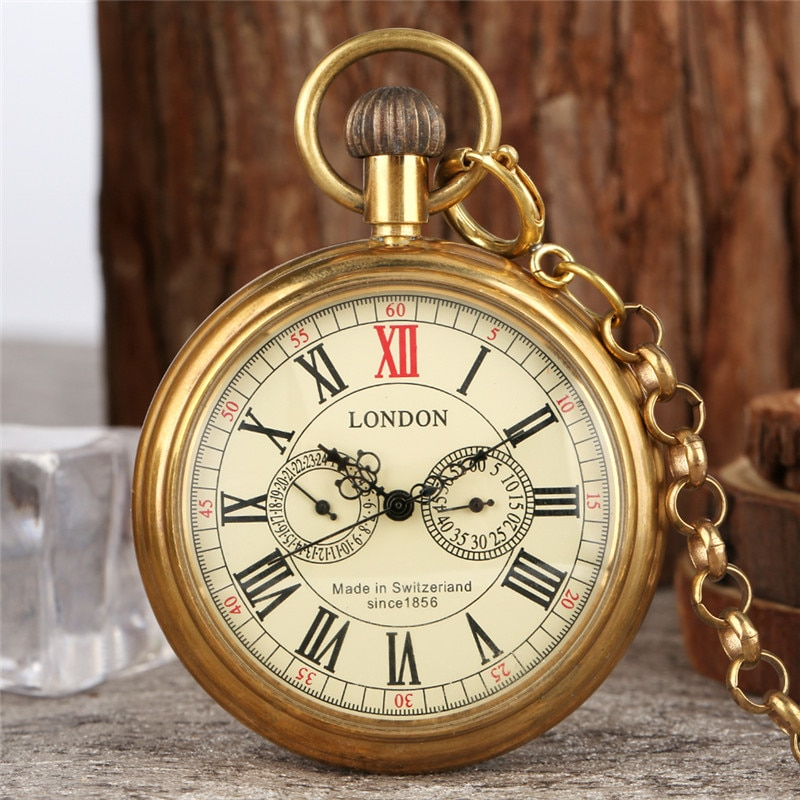 Vintage Copper Brass Roman Numerals Men's Automatic Mechanical Pocket Watch Self Winding Pendant Clock with FOB Chain reloj Gift