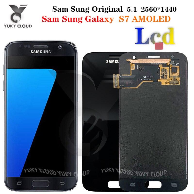 Original 5.1 super super amoled display lcd para samsung galaxy s7 lcd SM-G930F g930 display touch screen digitador assembléia