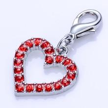 Collier avec pendentifs de bijoux en strass   Breloques rouge en forme de cœur pour chiens chats homard, breloque collier collier, accessoires pour animaux domestiques