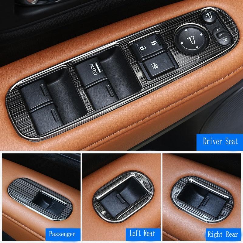 Accessory door handle holder window control switch black stainless steel trim cover 4pcs For 2015 2016 2017 honda HRV HR-V Vezel