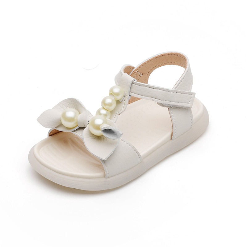Baby Girls Sandals Rubber Sole Soft Bow-knot Sweet Princess Children Summer Sandals Pearls Beaded T-strap with Bow Kids Shoes