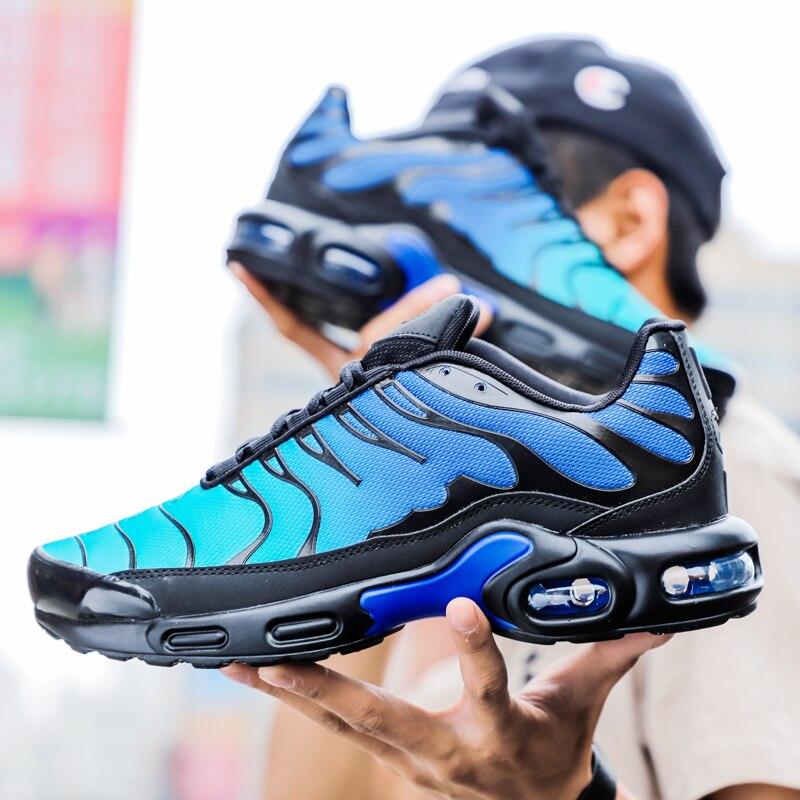 موضة الرجال احذية الجري وسادة هوائية أحذية رياضية الرجال حجم كبير خفيف الوزن المشي أحذية رياضية تنفس رياضة التنس للنساء