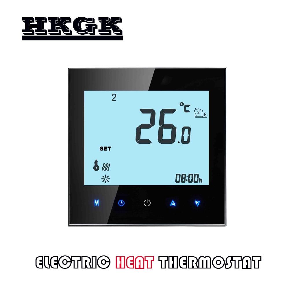 الاتحاد الأوروبي 95-240VAC المزدوج الاستشعار التدفئة ترموستات التحكم عن الحرارة الكهربائية ، كابل التدفئة ، شريط تسخين كهربائي