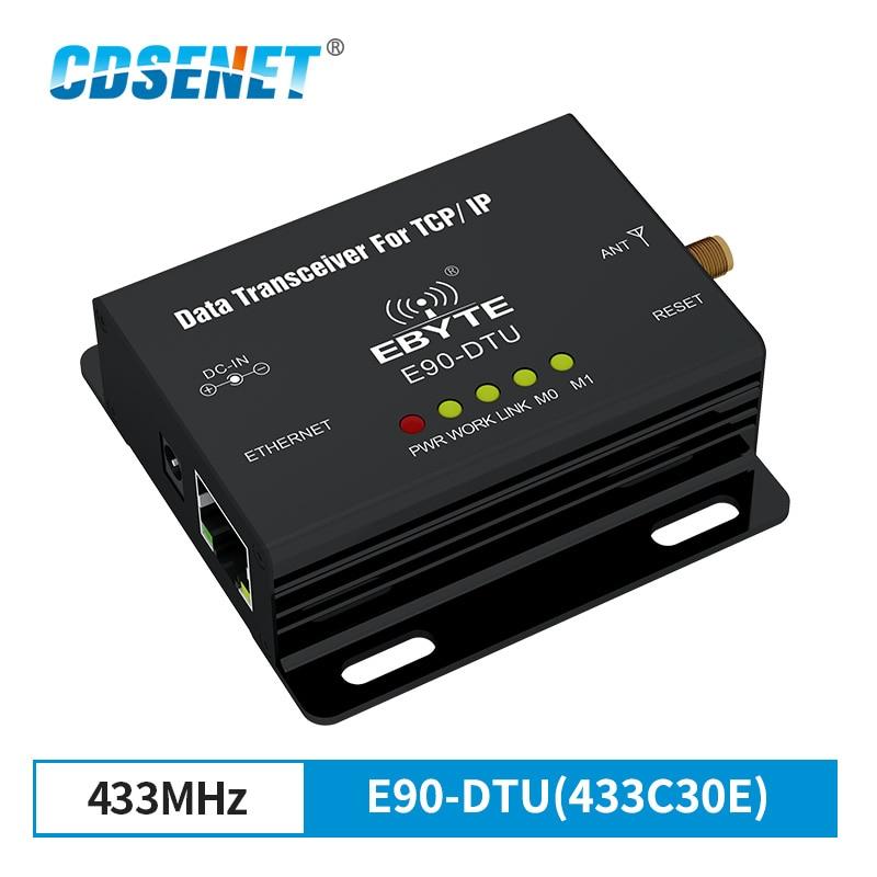 إيثرنت مودبوس 433 mhz rf الارسال طويلة المدى الاتصالات راديو E90-DTU(433C30E) IoT PLC 433 MHz RJ45 جهاز بث استقبال للترددات اللاسلكية
