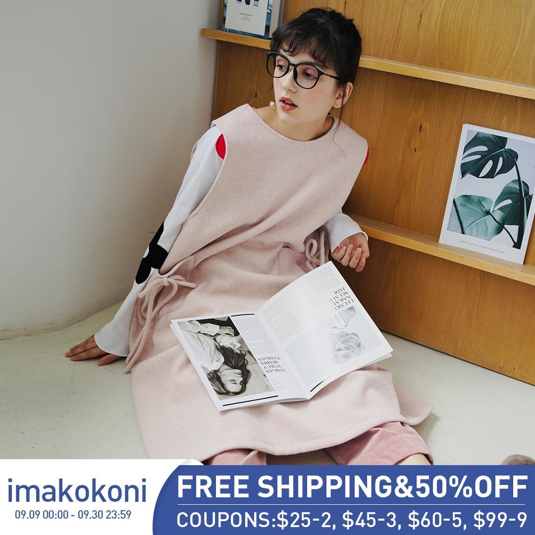 Imakokoni فستان من الصوف بدون أكمام متوسط الطول فضفاض الكل مباراة a خط سترة تنورة 203113