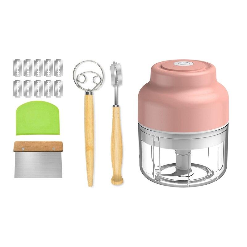 العجين خفقت والخبز عرجاء الفولاذ المقاوم للصدأ أداة مجموعة ، 2 قطعة مكشطة العجين و 100 مللي أداة تقطيع الطعام هراسة الثوم الكهربائية (الوردي)
