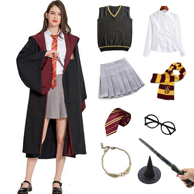 Homens mulheres crianças manto roupas vermelho grange roupas magia escola festa uniforme cosplay traje de halloween      -