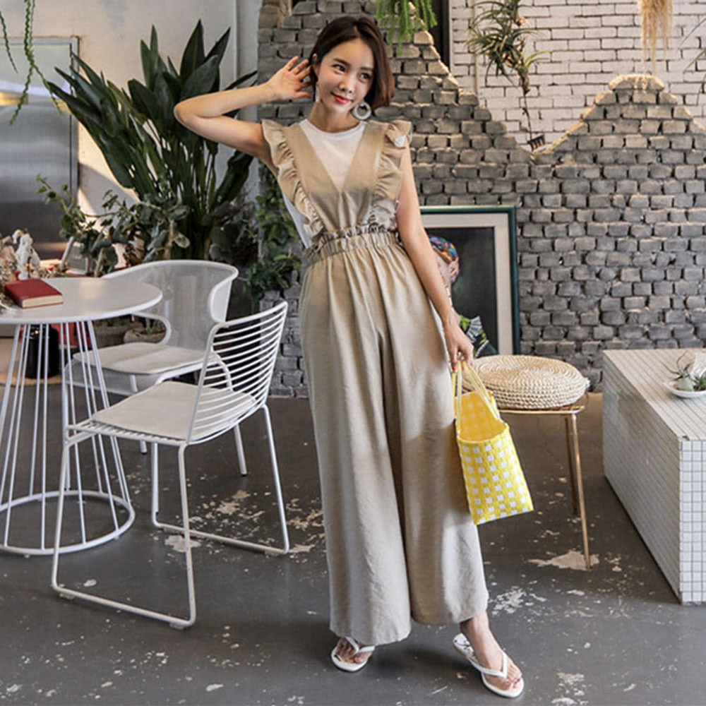 Autumn New 2021 Korean Fashion Fungus Solid Color Jumpsuit Deep V-neck Thin High Waist Loose Casual