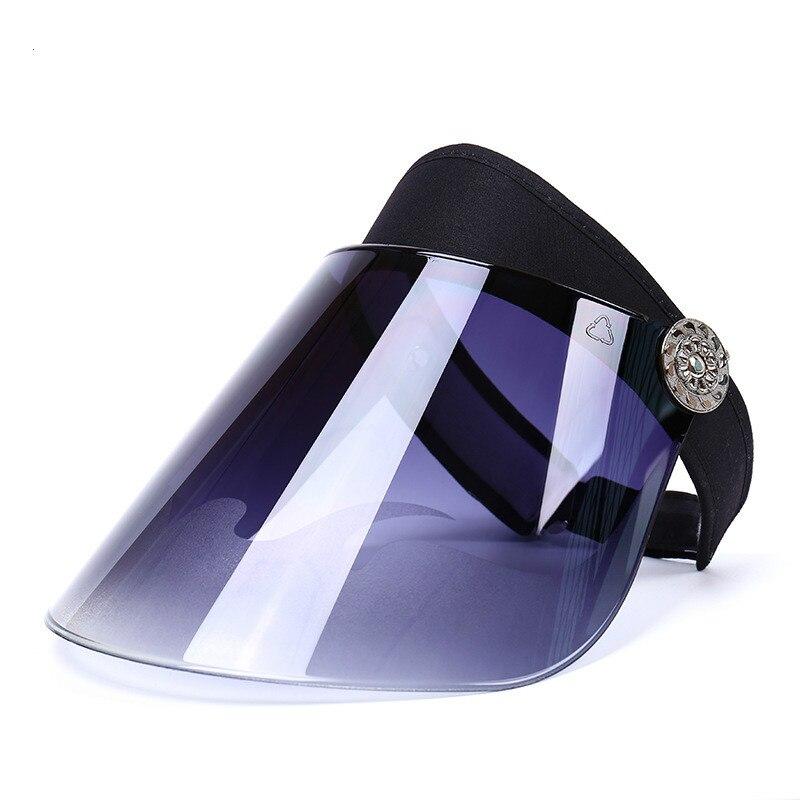 Máscara Anti-uv sombrero de lente de plástico para mujer sombrero de ala ancha sol casual verano rotación libre tapa de visera de plástico vacía dropshipping