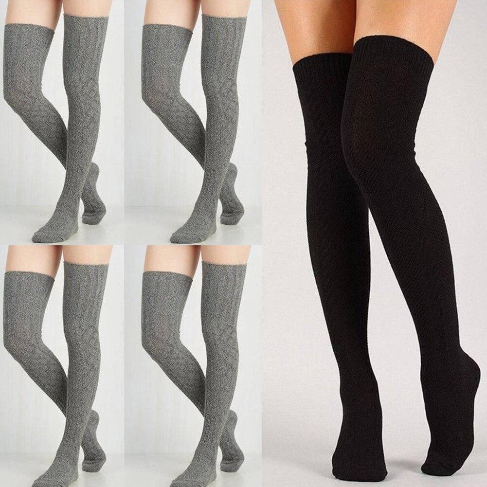 Women Over Knee Socks Fashion Female Sexy Stockings Warm Long Boot Knit Thigh-High Gray Khaki Blue Black