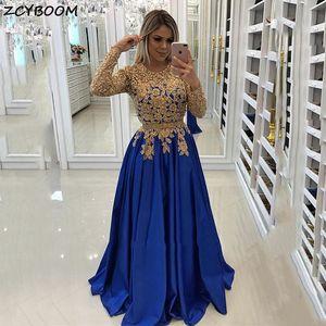 Royal Blue Prom Dress 2021 Women Formal Party Night Vestidos De Gala A-Line Satin Appliques Elegant Simple Long Evening Gowns
