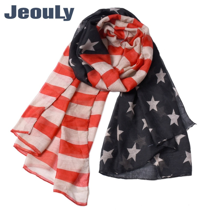 And The United States Of 2018 Autumn Winters Voile Scarf Stars Stripe Fabric Printing Encryption American Flag Scarf