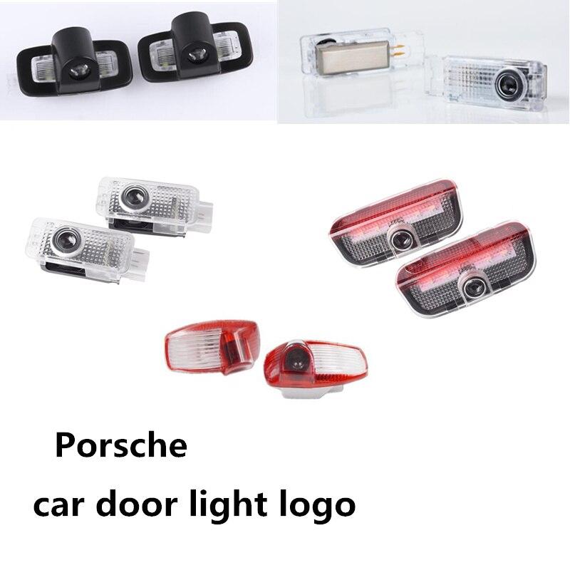 2pcs Car Led Door Welcome Light Projector Logo Laser Light For Porsche Panamera Cayenne Boxster Cayman Macan 911