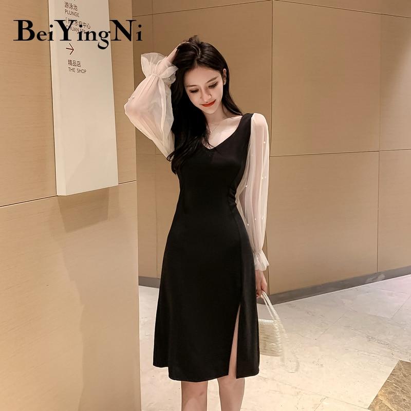 Beiyingni Mesh Patchwork Black Dress Women Long Sleeve OL Plus Size Chic Bodycon Dress Sexy Split French Elegant Party Vestidos