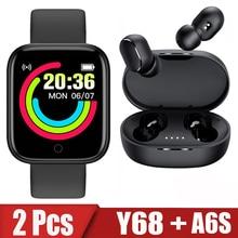 2Pcs Y68 A6S Smart Watch Men Women Bluetooth Watches Sport Fitness Heart RateTracker Pedometer D20 S