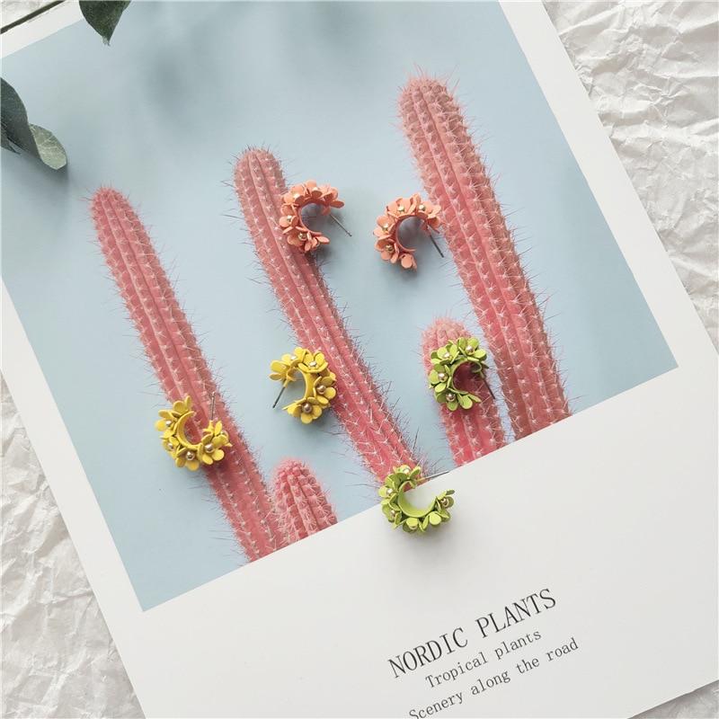 Korean Little Cute Fresh Flower Princess Simple Woman Girls Stud Earrings Fashion Jewelry Holiday-JQD5-W2