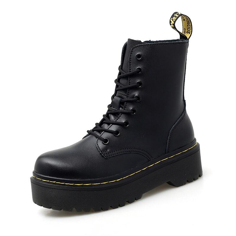 Véritable cuir femmes blanc bottines plate-forme bottes femmes chaussures automne hiver fourrure mode bout rond à lacets en cuir botte