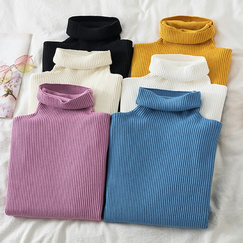 2021 Winter Clothes Women Pullover Sweater Knitted Turtleneck Thick Warm Slim Casual Long Sleeve Autumn Female Sweaters Jumpers girls sweater turtleneck knitted long sleeve kids clothes autumn 2018 casual children school uniform size 8 10 12 13 15 year