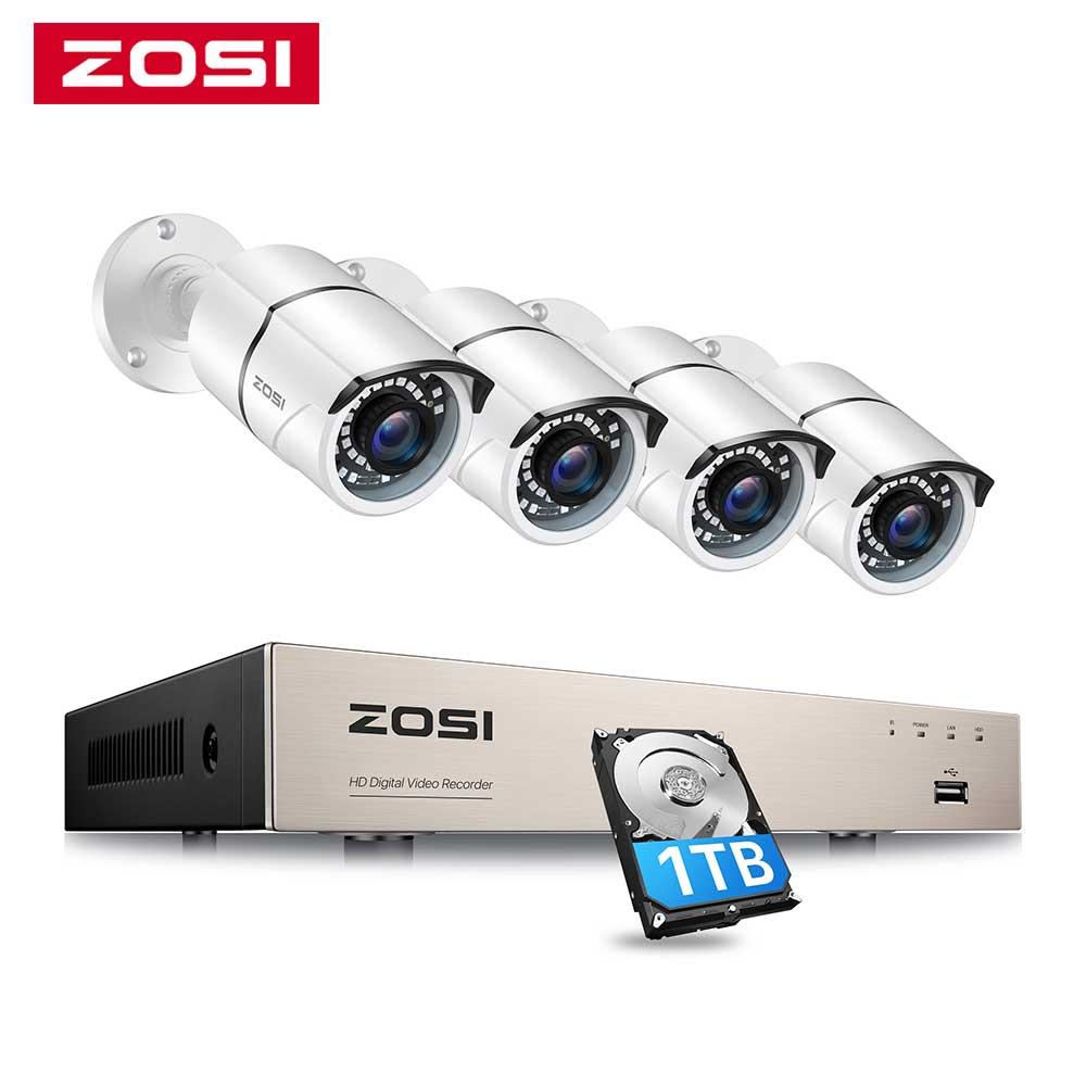 ZOSI 1080P نظام مراقبة بالفيديو 8CH 5MP لايت H.265 + DVR مع 4X 2.0MP HD في الهواء الطلق كاميرا مراقبة للمنزل سوبر للرؤية الليلية