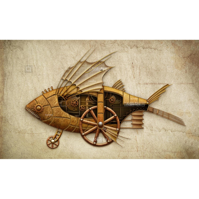Steampunk Flying Fish Car Metal Cutting Dies Gear Wheel Stencil For DIY Scrapbooking Card Decorative