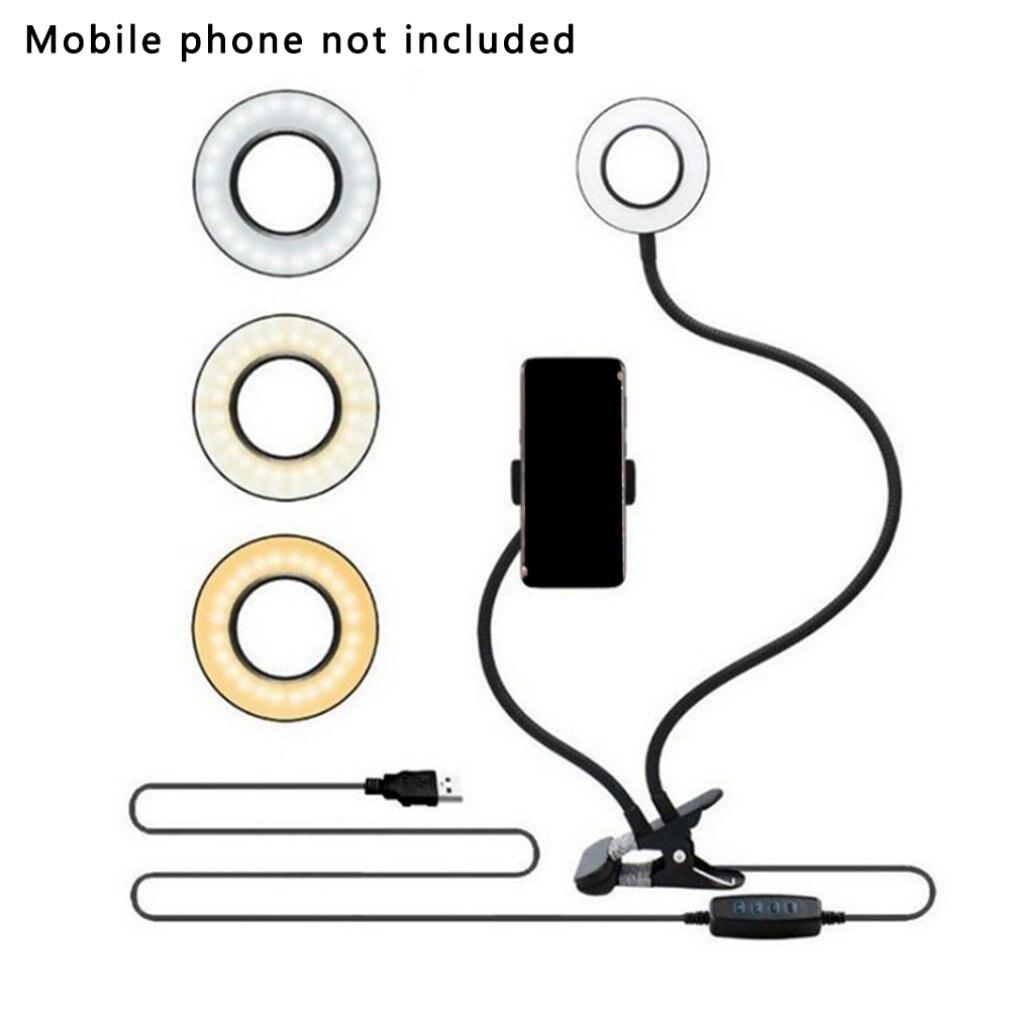 Clipe em Led Anel de Luz com Suporte do Telefone Foto para Fluxo ao Vivo Selfie Celular Flexível Pode Escurecido Compõem Lâmpada Mesa Estúdio Ser