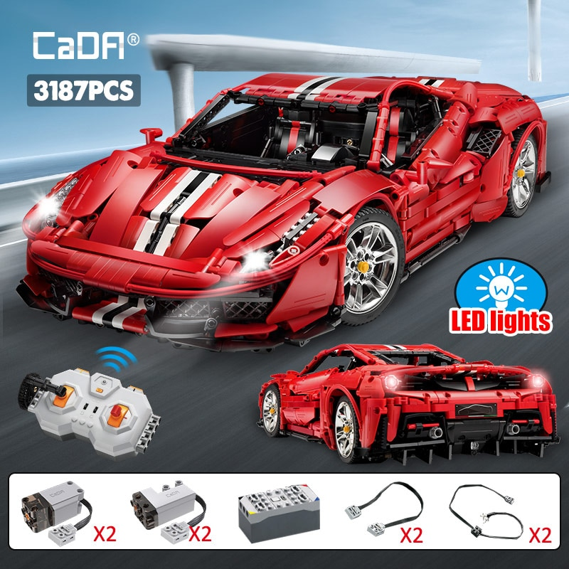 Cada 3187PCS Creator high-tech RC Racing Car Super Car Building Blocks City Remote Control Sports Ve