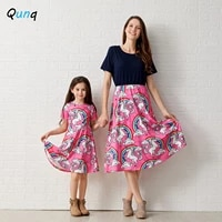 qunq summer mother daughter dress cartoon unicorn print dresses for women girl o neck a line mommy and me family matching outfit