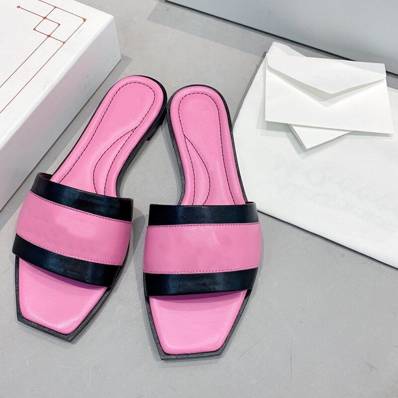 Luxury Brand Fashion Color Matching Leather Summer Casual Slippers Women Shoes 2021 Designer