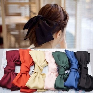 40 Color Girls Candy Color Headwear Satin Silk Bow Tie Hairwear Large Bow-knot Hairpin Fashion Sweet Hair Rope Hair Accessory