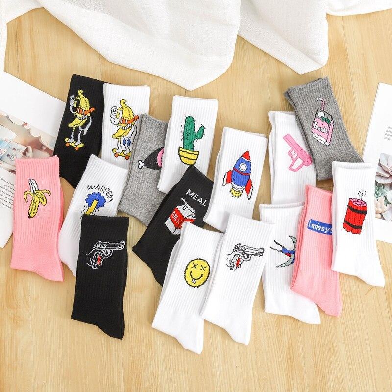 Японские летние новые Мультяшные забавные носки с буквами бананами молнией КАКТУСОМ милые мужские женские корейские кавайные розовые коро...
