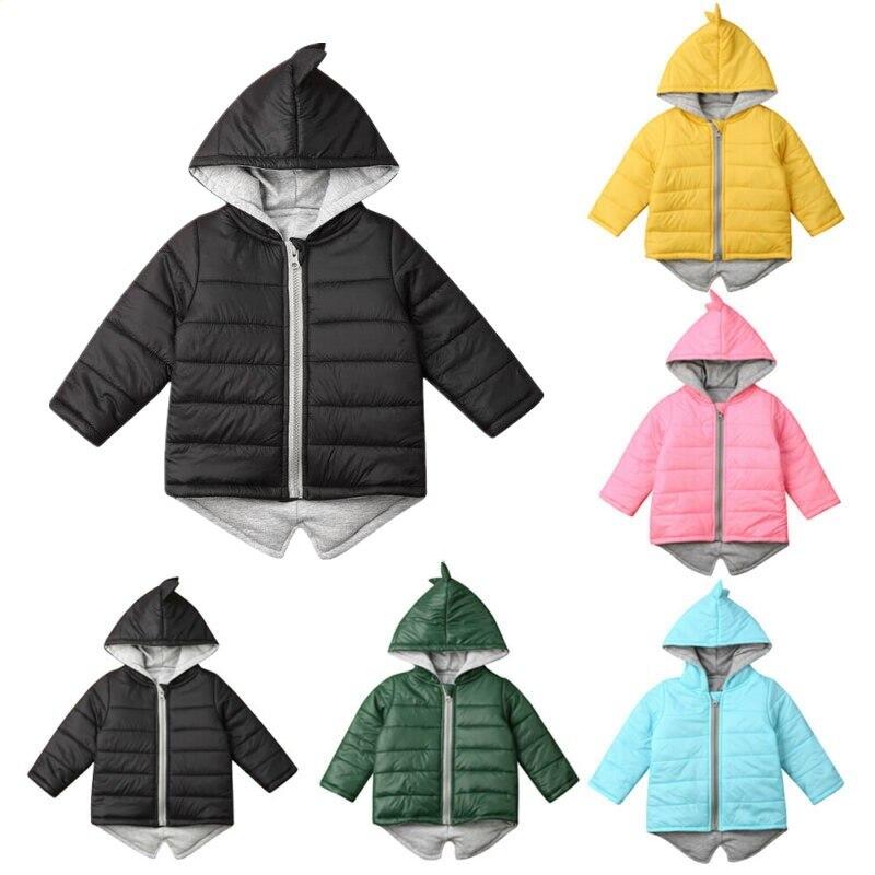 1-7T niño pequeño bebé niña sudadera de niño cremallera invierno grueso abrigo cálido chaqueta 3D dinosaurio prendas de vestir abrigos chaquetas