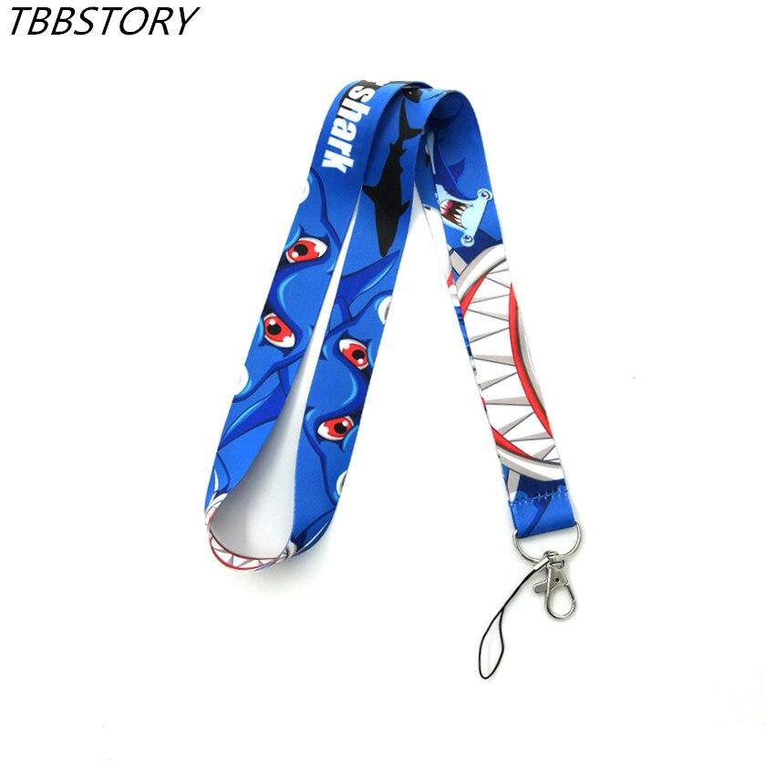 12 Uds. Correas de cuello de tiburón moscada para llaves DIY Tarjeta de Identificación Gym sujección de insignia y USB correas de cuerda para colgar teléfono móvil
