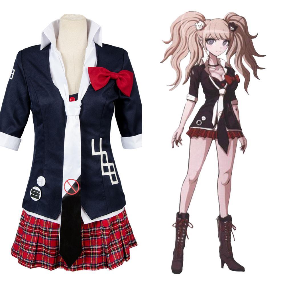 (Em estoque) danganronpa cosplay junko enoshima traje cosplay vestido uniforme terno completo trajes de carnaval de halloween
