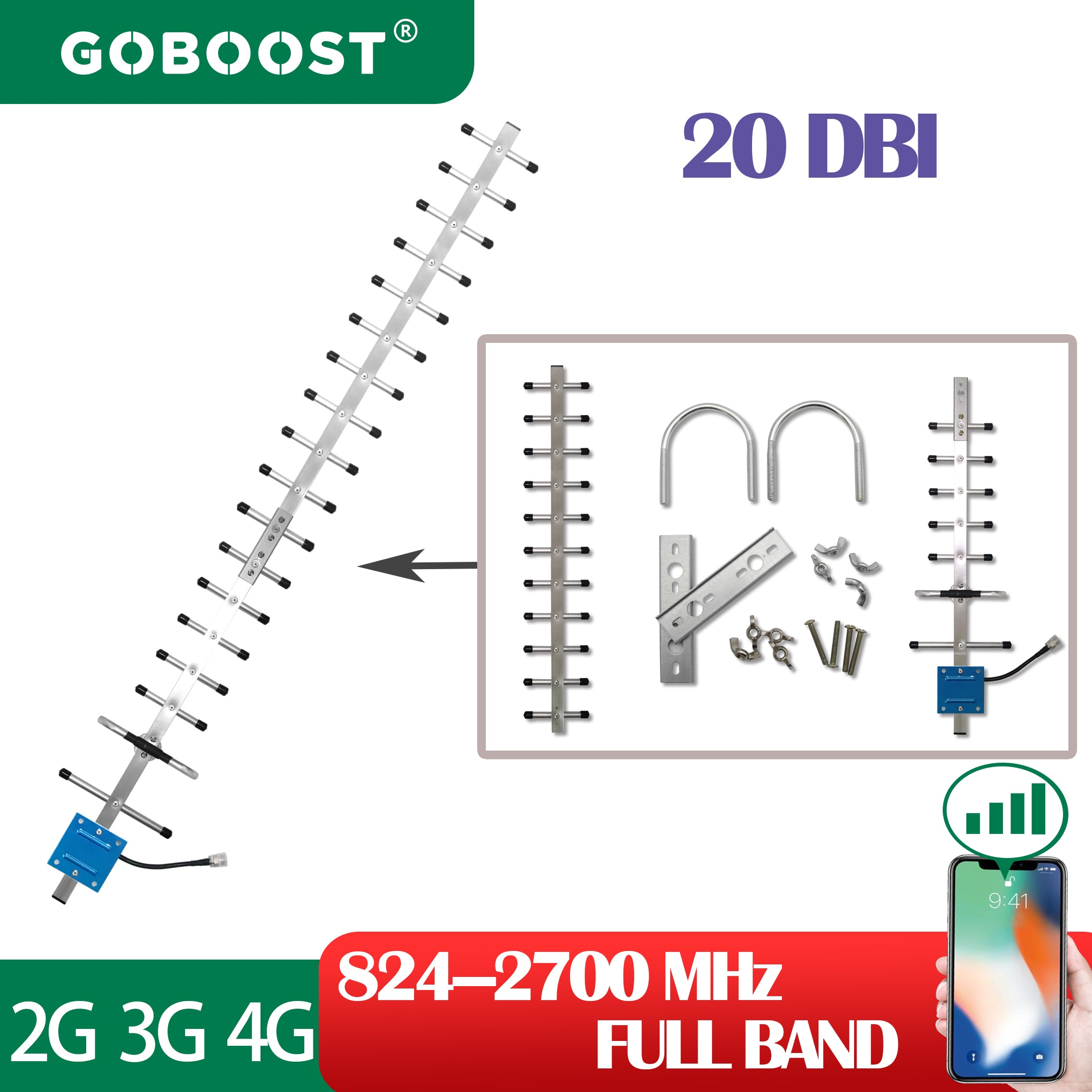 GOBOOST 3g 4g Cellular Amplifier Network Outdoor Yagi Antenna 824-2700mhz Signal Boost For Internet 20DB LTE WCDMA 900 1800 2100