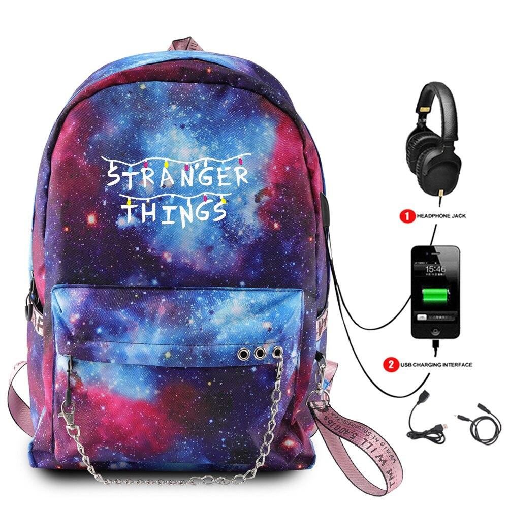 Mochila Stranger Things Galaxy Space, mochilas de moda para uso diario, Mochila para ordenador portátil, mochilas escolares para adolescentes, mochilas de viaje informales para niños y niñas