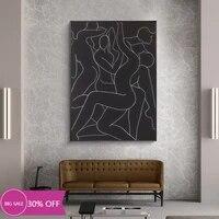 Toile de decoration de noel  affiches de peinture  ligne abstraite  Art humain  tableau mural  decor de maison