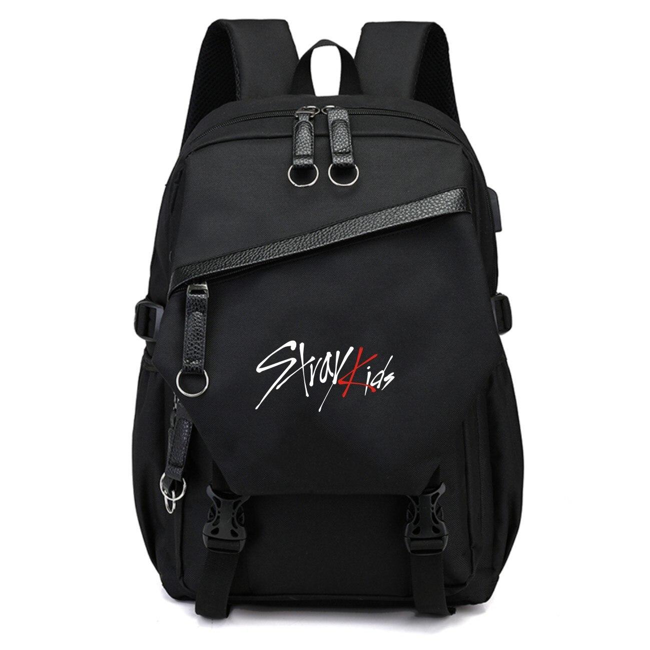 KPOP coreano niños perdidos mochila de moda negro de viaje bolsas de la Escuela de gran capacidad de poliéster tela de Kpop niños perdidos suministros