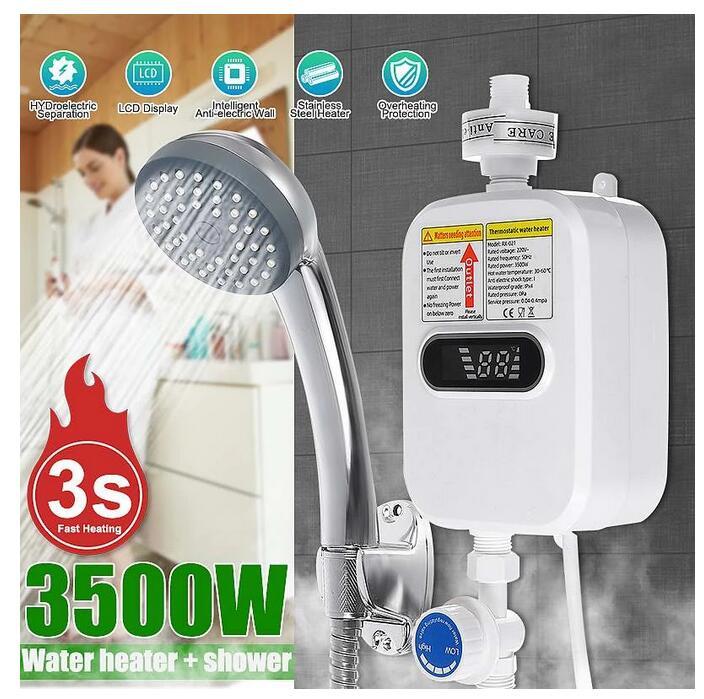 RX-21 ، 3500 واط لحظة سخان مياه كهربي 3S التدفئة الحمام المطبخ Tankless سخان المياه درجة الحرارة عرض التدفئة دش
