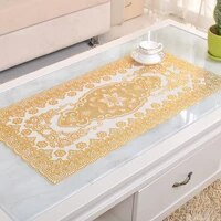 1pc european coffee pad lace gilded placemat pvc table cloth waterproof anti ironing soft plastic for home table decoration