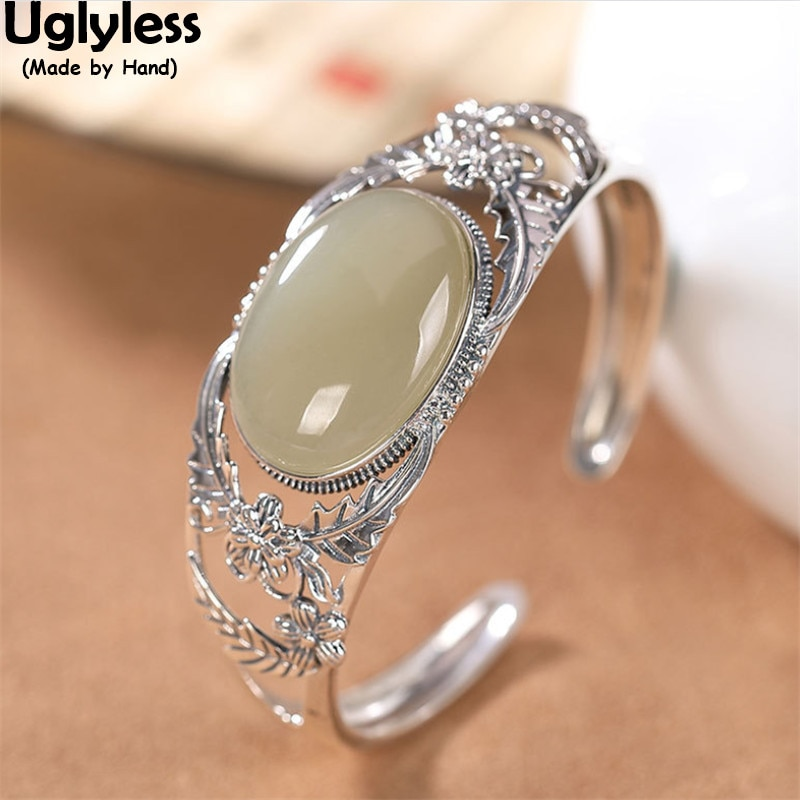 Get Uglyless Vintage Ethnic Wide Hollow Bangles for Women Natural Jade Eastern Beauty Fashion Bangles 925 Silver Flowers Jewelry