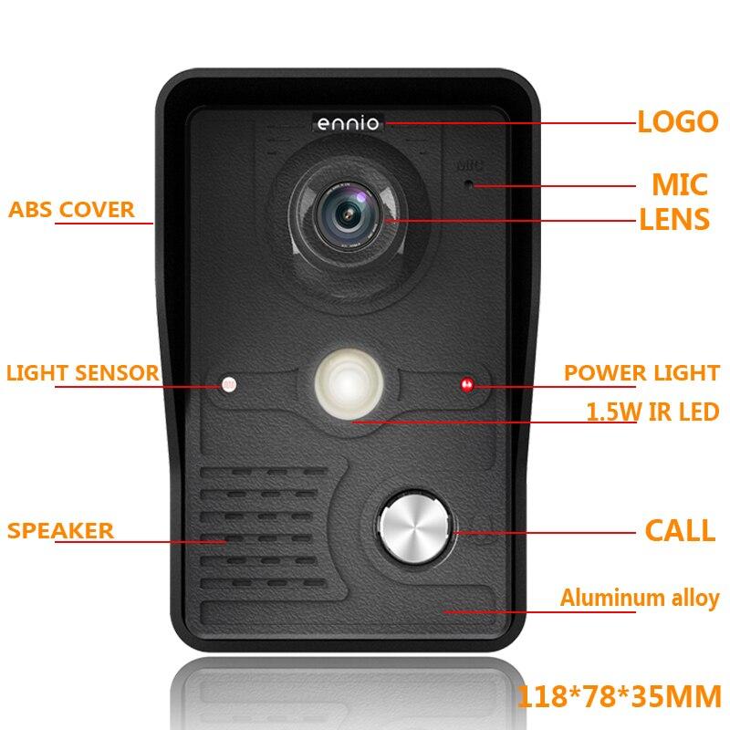 New 7 inch Video Doorbell Monitor Video Intercom With 1200TVL Weatherproof Outdoor Camera IP65 Door Phone Intercom System enlarge