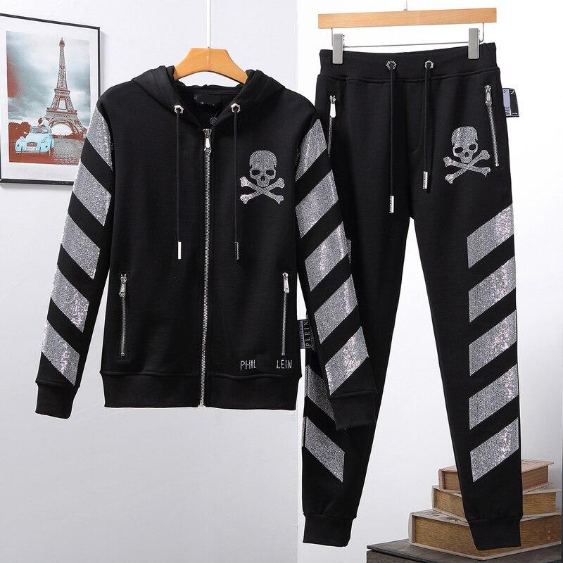 German popular logo men's suit Plein hot drill hoodie hoodie pants skull PP clothes jacket nightclub street trend